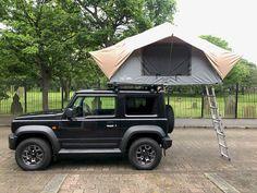 Custom Rainfly on Front Runner Roof Tent - Geordie Jimny Suzuki Jimny Off Road, New Suzuki Jimny, Sidekick Suzuki, Camper Trailer Tent, Jimny 4x4, Jimny Sierra, Suzuki Cars, Small Suv, Cool Tents
