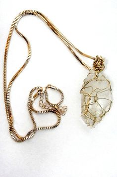Gold Tone Wire Wrapped Brazil Crystal by RaquelDoloresDesign