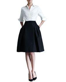 Carolina Herrera Silk Taffeta Shirt & Faille Party Skirt