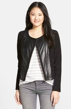 Halogen® Suede & Leather Jacket available at #Nordstrom