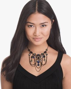 Women's Hematite Blue Gemstone Statement Necklace by White House Black Market