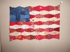 INSPIRED BY ANTIQUE QUILTS - miniature tumbler flag quilt