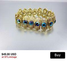 #Coro #vintage #bracelet #1950 #jewelry  #peacockblue #rhinestone