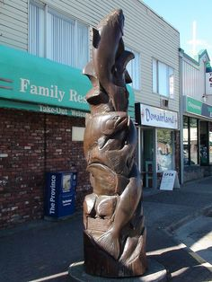 Hope British Columbia: Salmon Carving by Karen Morton's Pics, via Flickr. www.HopeBC.ca Fish Art, Chainsaw, British Columbia, Wood Carving, Salmon, Lion Sculpture, Statue, Places, Garden