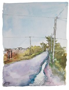 The road near my house after a spring shower, artists watercolour on paper. Sunshine, Rain, Etsy Shop, Trending Outfits, Unique Jewelry, Handmade Gifts, Painting, Vintage, Rain Fall