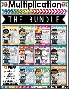 Mastering multiplication facts is such an important component to math fluency. This BUNDLE has tons of hands-on, FUN, engaging and meaningful ways to help students master basic multiplication facts from Teaching The Alphabet, Teaching Math, Maths, Multiplication Facts, Math Facts, Homeschool Math, Homeschooling, First Grade Math, Kindergarten Math