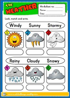 the weather - worksheet English Vocabulary List, English Teaching Resources, Teaching English Grammar, English Worksheets For Kids, English Games, English Activities, Esl Resources, English Lessons, Learn English