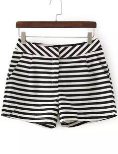 Shorts rayas bolsillo-Sheinside