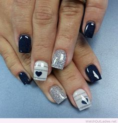 Navy and silver glitter with details on nails