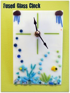 fused glass clock with underwater theme