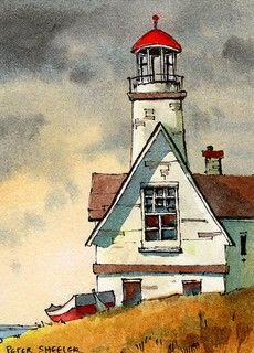 Watercolor Scenery, Watercolor Art Lessons, Watercolor Landscape Paintings, Beach Watercolor, Watercolor Artists, Watercolour, Architecture Drawing Art, Watercolor Architecture, Lighthouse Painting