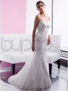 A-Line Satin Embroidered Bodice Soft Sweetheart Neckline Sweep Train Wedding Dress (J5975)