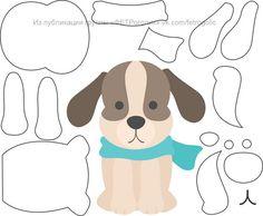 Cachorro com molde Quiet Book Patterns, Felt Patterns, Applique Patterns, Dog Crafts, Felt Crafts, Diy And Crafts, Paper Crafts, Dog Template, Felt Templates