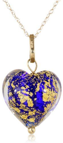 "14k Yellow Gold Blue and Gold Murano Glass Heart Pendant Necklace, 18"" Amazon Curated Collection http://www.amazon.com/dp/B00HG4UE04/ref=cm_sw_r_pi_dp_ZRCxub07RY4NJ"