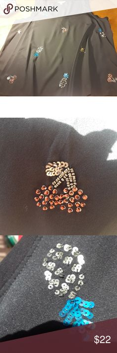 NWT Juicy Couture black top with sequin fruit-XL New with Tags Juicy Couture black polyester top with knit trim and embellished with beautiful bright colored sequined pineapples, cherries, & beetles, size XL Juicy Couture Tops