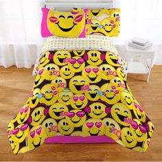 Emojination Happy Happy Reversible Comforter, Twin, Yellow