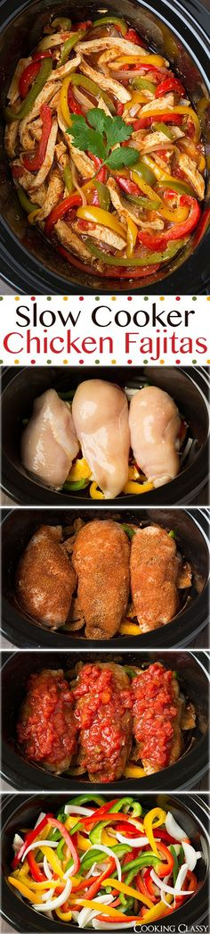 """Slow Cooker Chicken Fajitas - these are easiest chicken fajitas yet they taste AMAZING!! My new go to recipe for fajitas."""