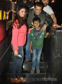 Salman Khan is seen with Daisy Shah, who was casual in a coral jacket, jeans and wedges watching 'Sholay 3D' #Style #Bollywood #Fashion #Beauty #Handsome