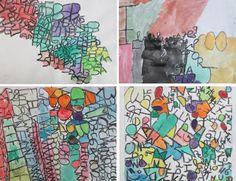 Números y letras dibujados con cera blanda de color negro y pintados con acuarelas (6º de EP). Colegio Alameda de Osuna.