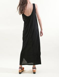 Creatures of Comfort Tank Dress Italian Linen- Black