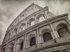 Roman Colosseum sketches | Colosseum - pencil drawing