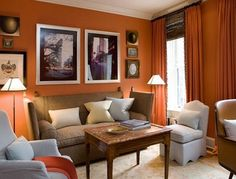 living room kid friendly burnt orange wall color design, pictures