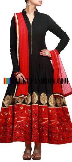 Buy it now  http://www.kalkifashion.com/black-anarkali-suit-with-resham-and-zari-work-7756.html Black anarkali suit with resham and zari work