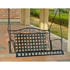 Shop a great selection of International Caravan Iron Outdoor Porch Swing, Verdigris. Find new offer and Similar products for International Caravan Iron Outdoor Porch Swing, Verdigris. Outdoor Patio Swing, Pergola Swing, Pergola Patio, Pergola Kits, Outdoor Decor, Pergola Plans, Pergola Ideas, Pergola Cover, Wisteria Pergola