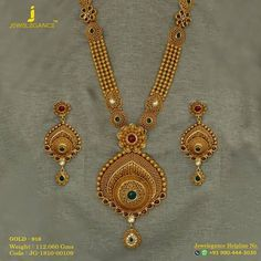 Enchanting Emerald Long Set That Will Keep Your Style Evergreen. Get in touch with us on 919904443030 Gold Ring Designs, Gold Bangles Design, Gold Earrings Designs, Gold Jewellery Design, Bridal Jewellery, Necklace Designs, Gold Mangalsutra Designs, Diamond Mangalsutra, Gold Jewelry Simple