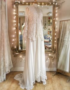 Silk chiffon and antique lace bohemian wedding dress with a relaxed romantic style, by Joanne Fleming Design