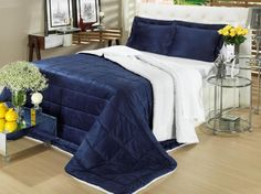 Jogo de cama em microfibra para cama king: 1 edredom dupla face (azul e pele de carneiro), 2 porta-travesseiros