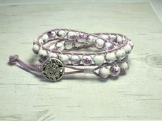Leather Wrap Bracelet Purple Ceramic Flower by BeadWorkBySmileyKit