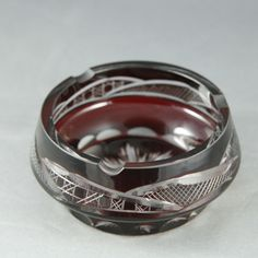 Vintage Cranberry Cut to Clear Glass Ash Tray Star Abstract Design Deep Red