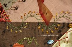 Crazy Quilt Stitch #2, Curved Feather Stitch + Lazy Daisy © Valerie Bothell 2015
