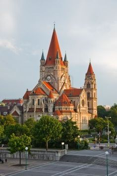 Mexicoplatz church on Danube River, Vienna, Austria - we stumbled upon this on accident - so pretty!