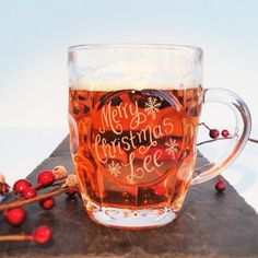 Personalised glass beer tankard Christmas gift by CoveCalligraphy