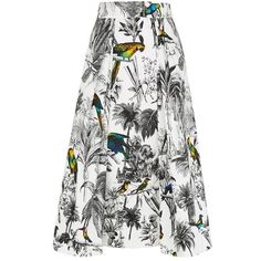 Milly Tropical Print Midi Skirt ($545) ❤ liked on Polyvore featuring skirts, bottoms, mid calf skirt, pattern skirt, white pleated skirt, midi skirt and milly skirt
