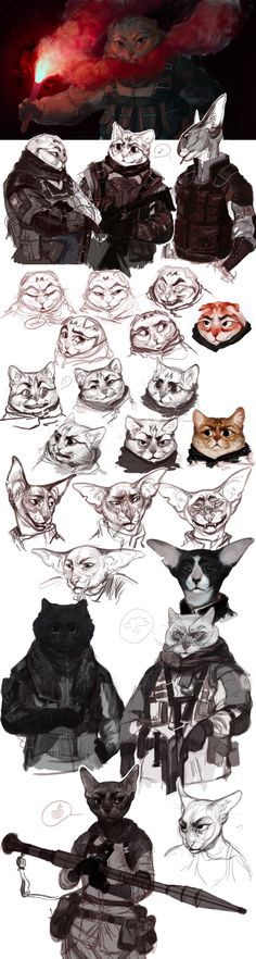 Tactic CATs by REYKAT Anthro Cat, Art Du Monde, Animal Drawings, Drawings Of Cats, Character Concept, Cat Character, Character Creation, Concept Art, Character Design References