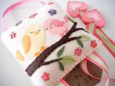 Felt Hair clip holder-Miki's Wool Felt Hair clip holder-Felt sleepy bird, tree, flower applique-Beutiful wall Deco. $35.99, via Etsy.