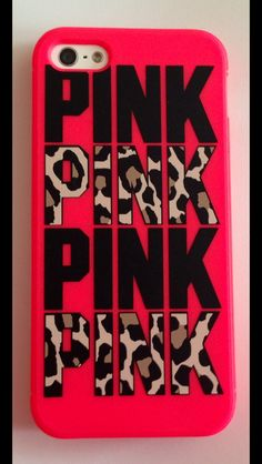 Victoria's Secret/Pink Gel Phone Case with leopard print letters/hot pink-peach