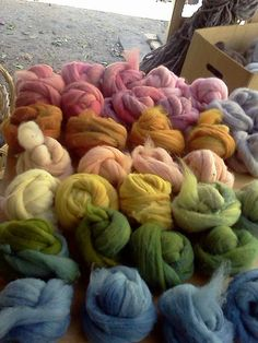 freshly naturally dyed wool roving by colorsofnature on Etsy, $20.00