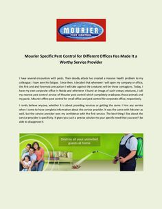 Mourier offers pest control for small office and pest control for corporate office, respectively. Choose Mourier for the eradication of contagions from your c… Best Pest Control, Pest Control Services, Office Branding, How To Remove, How To Apply, Small Office, Health Problems, Fire, Delhi Ncr