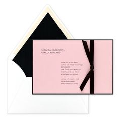 Charm invitation from Modern Weddings by Checkerboard. Customize this one how ever you like - change the orientation, the paper colors, the ribbon - and make it yours!