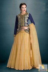 Blue Cream Chiffon Silk Net Lehenga Anarkali Dress #salwarsuit, #designerdress more:  http://www.pavitraa.in/catalogs/trendy-designer-anarkali-lehenga-suits/ more: ?utm_source=rn&utm_medium=pinterestpost&utm_campaign=14jun