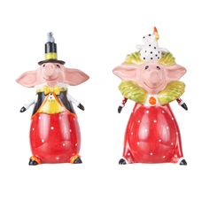"""Patience Brewster Ceramic """"Pierre and Phyllis Pig"""" Salt and Pepper Shaker Set $46.99 -  Available at SHOPBLUEHORSE.COM   #pig #kitchen #christmas #kitchen #decor #PatienceBrewster"""