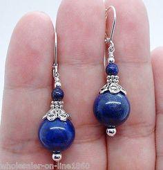 Hecho A Mano Hermoso Azul Lapislázuli Piedra Preciosa Plata Criolla Pendiente