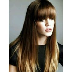 Long straight hair with blunt bangs ❤ liked on Polyvore featuring beauty products, haircare and hair styling tools