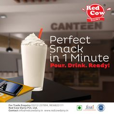 Your milky snack is ready within a few minutes. From normal milk to a milkshake, everything is so yummy & tasty with Red Cow Dairy. Visit us online: redcowdairy. Healthy Milk, Healthy Snacks, Milk Nutrition, Fresh Milk, No Dairy Recipes, Beverages, Drinks, Milkshake, Glass Of Milk