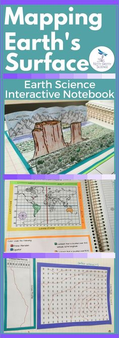 The Earth Science Interactive Notebook: Mapping Earths Surface chapter will showcase students ability to: Identify main types of landforms Explain the topography of an area Explain how maps and globes represent Earths surface Identify latitude and Earth Science Activities, Earth And Space Science, Science Curriculum, Science Resources, Science Classroom, Science Lessons, Teaching Science, Science Education, Teaching History