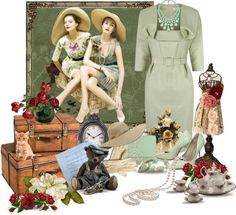 """Vintage Ladies"" by cathy1965 ❤ liked on Polyvore"